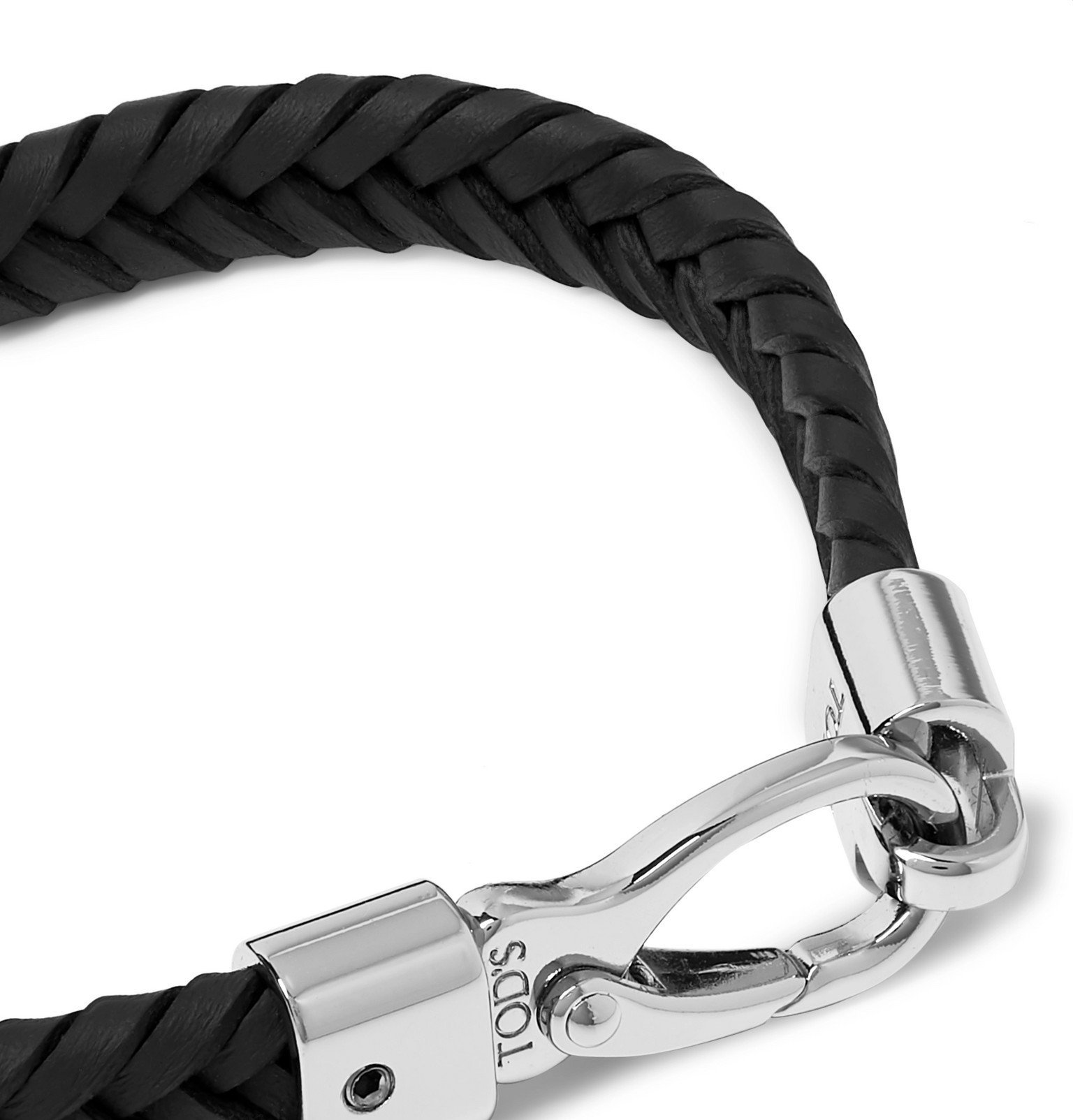 Tod's - Woven Leather and Silver-Tone Bracelet - Black