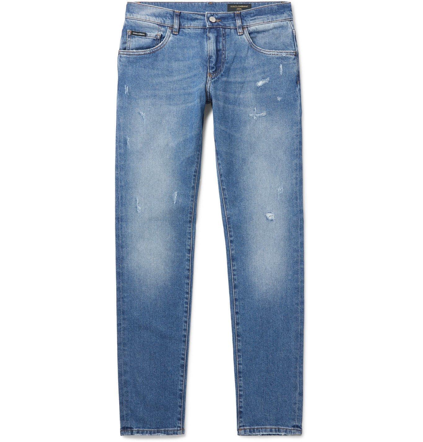 Photo: Dolce & Gabbana - Distressed Denim Jeans - Blue