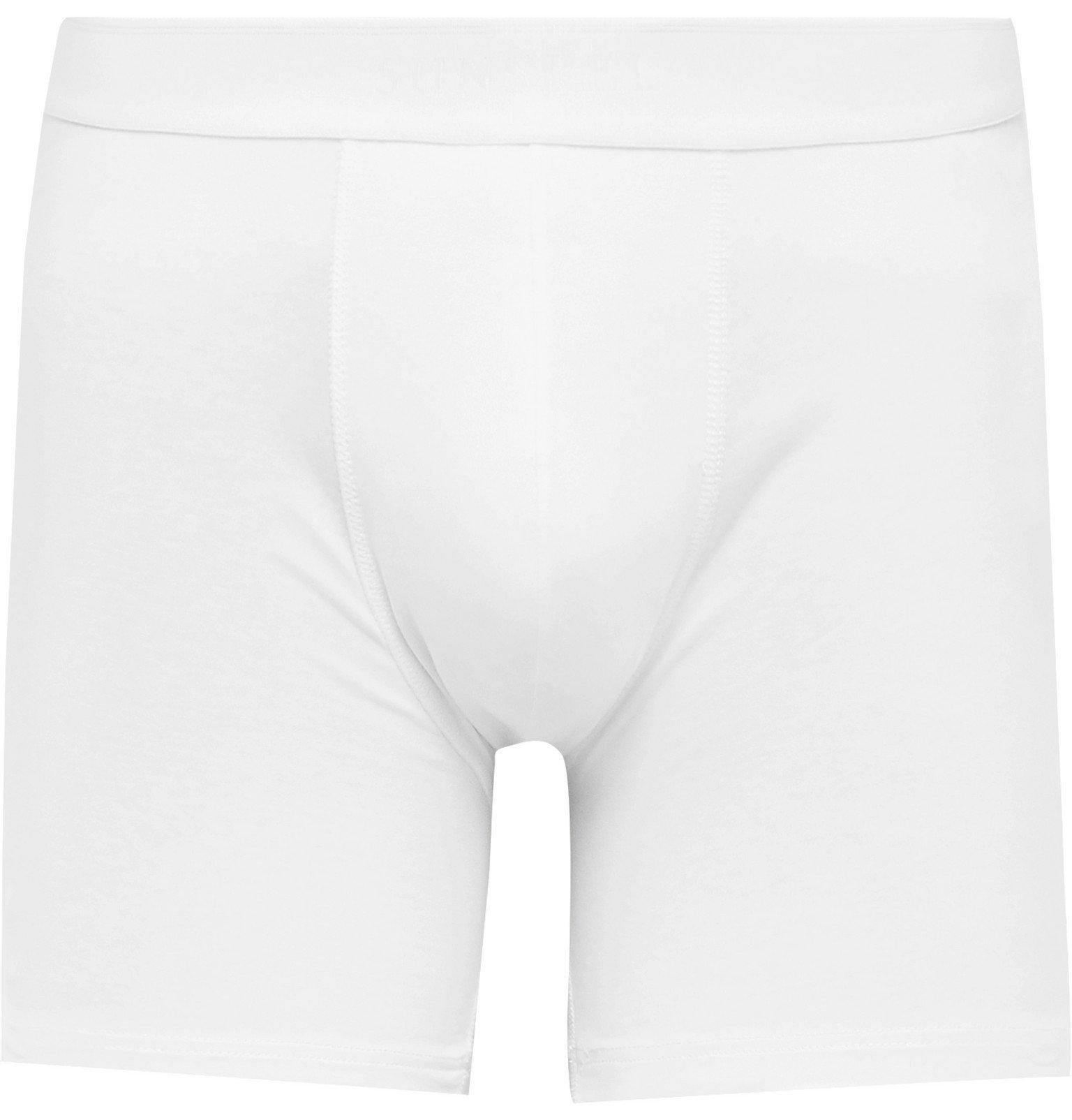 Sunspel - Mélange Stretch-Cotton Jersey Boxer Briefs - White