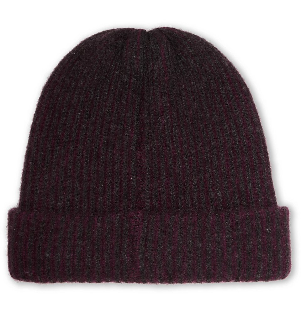 The Elder Statesman - Watchman Striped Ribbed Cashmere Beanie - Burgundy
