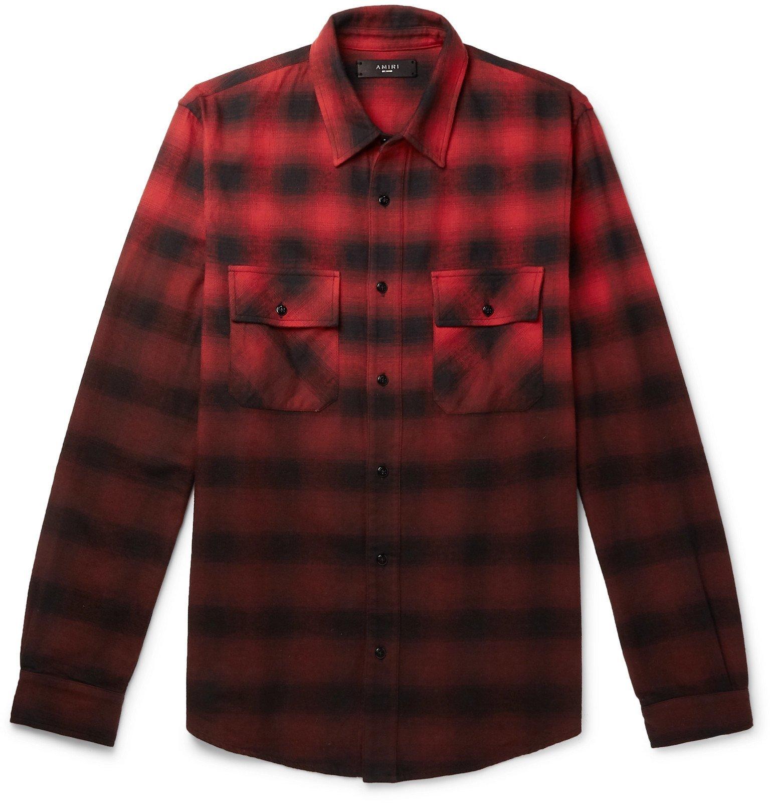 Photo: AMIRI - Dégradé Checked Cotton-Flannel Shirt - Red