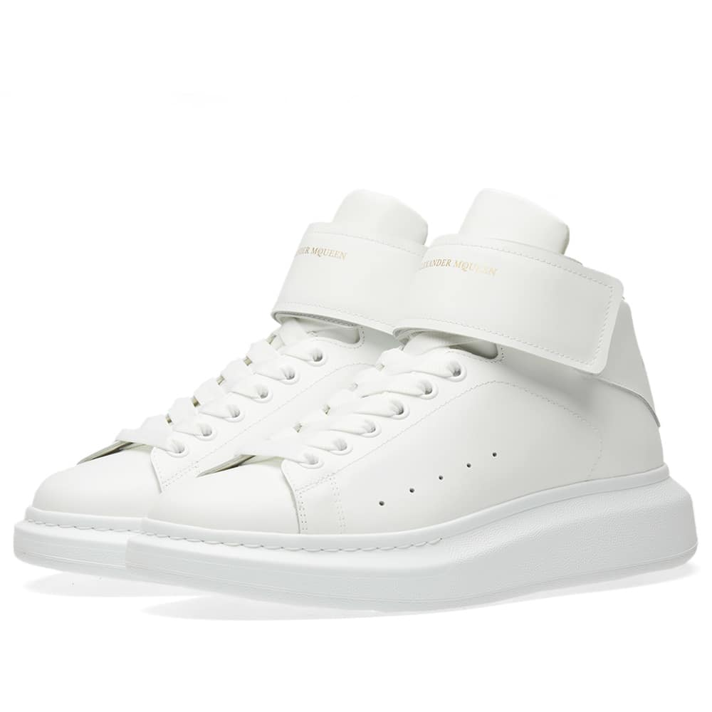 Photo: Alexander McQueen Wedge Sole Strap High Sneaker White