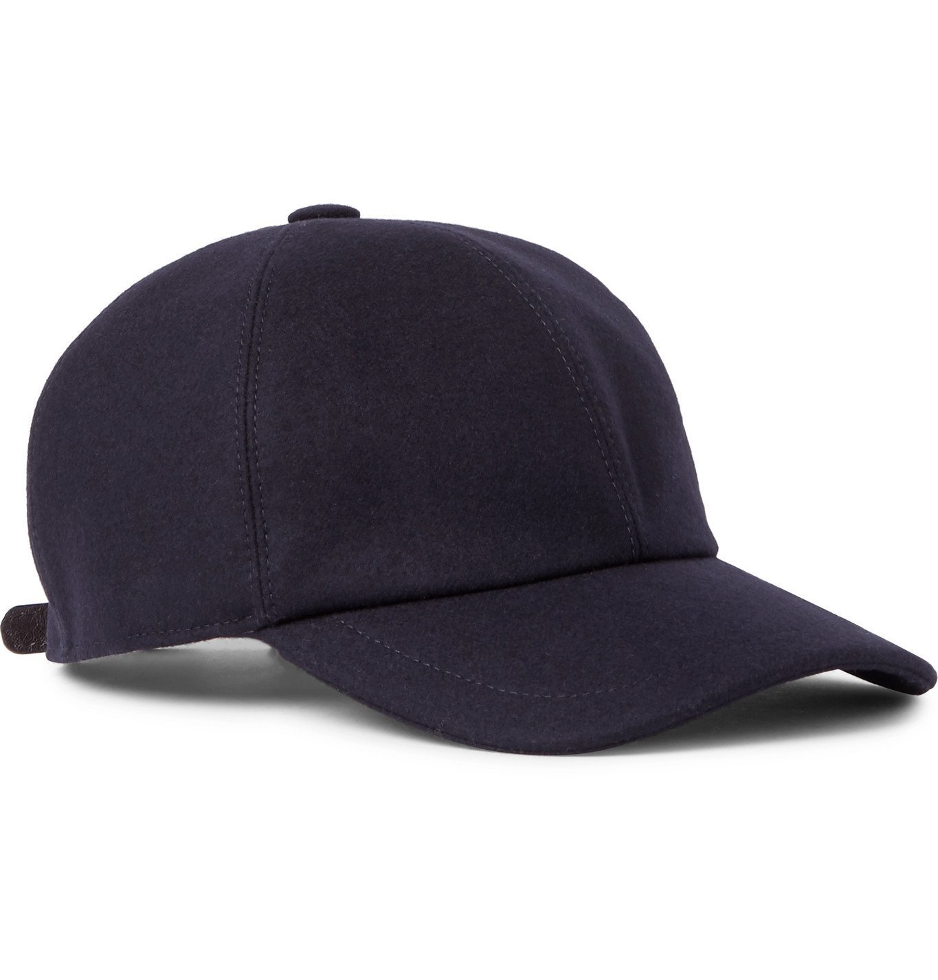 Photo: Brunello Cucinelli - Embroidered Leather-Trimmed Wool-Flannel Baseball Cap - Blue