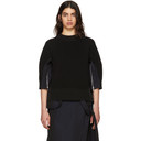 Sacai Black Poplin Flare Side Knit Sweater