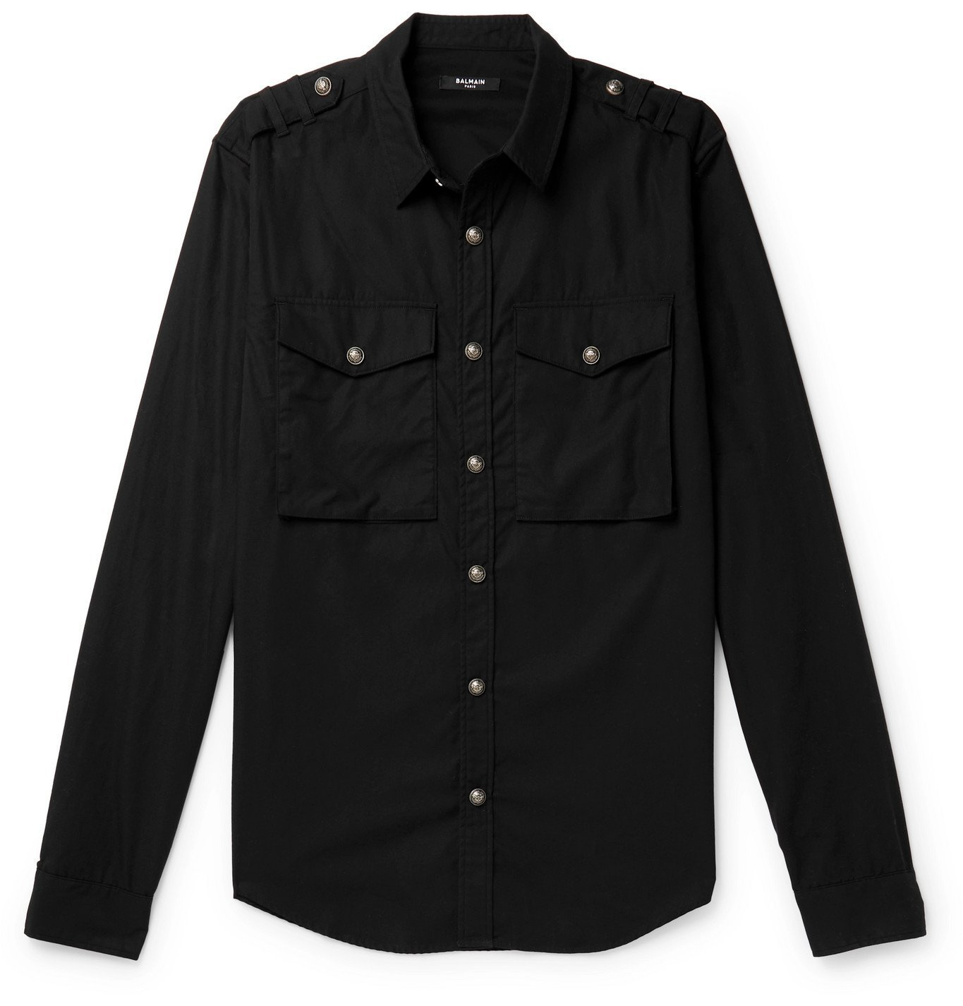 Photo: Balmain - Slim-Fit Logo-Print Cotton-Twill Shirt - Black