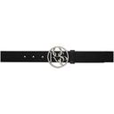 Martine Rose Black and Silver Rose Buckle Belt
