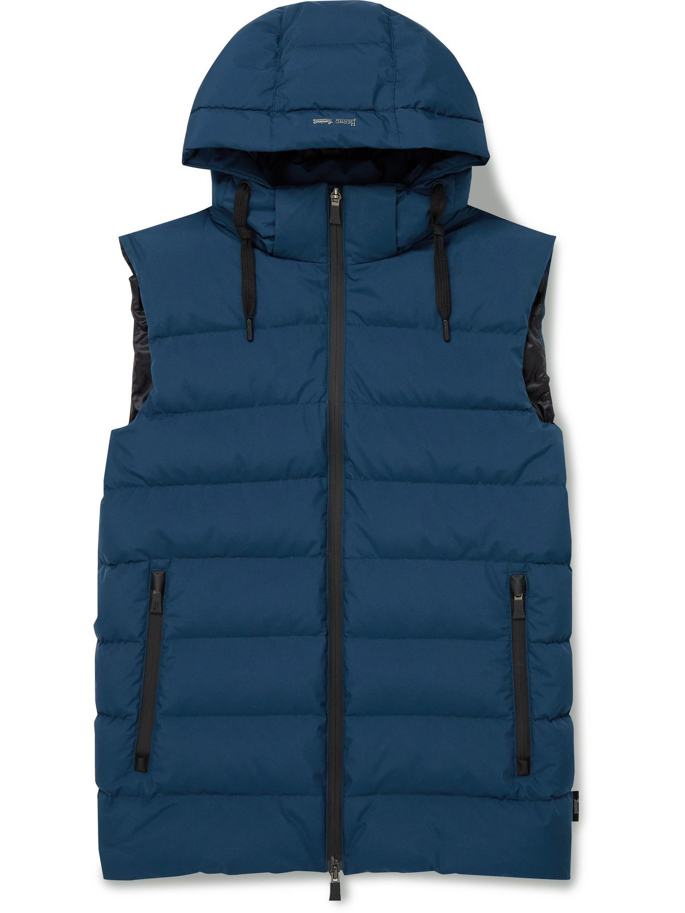 Photo: Herno Laminar - Slim-Fit Quilted GORE-TEX WINDSTOPPER Hooded Down Gilet - Blue