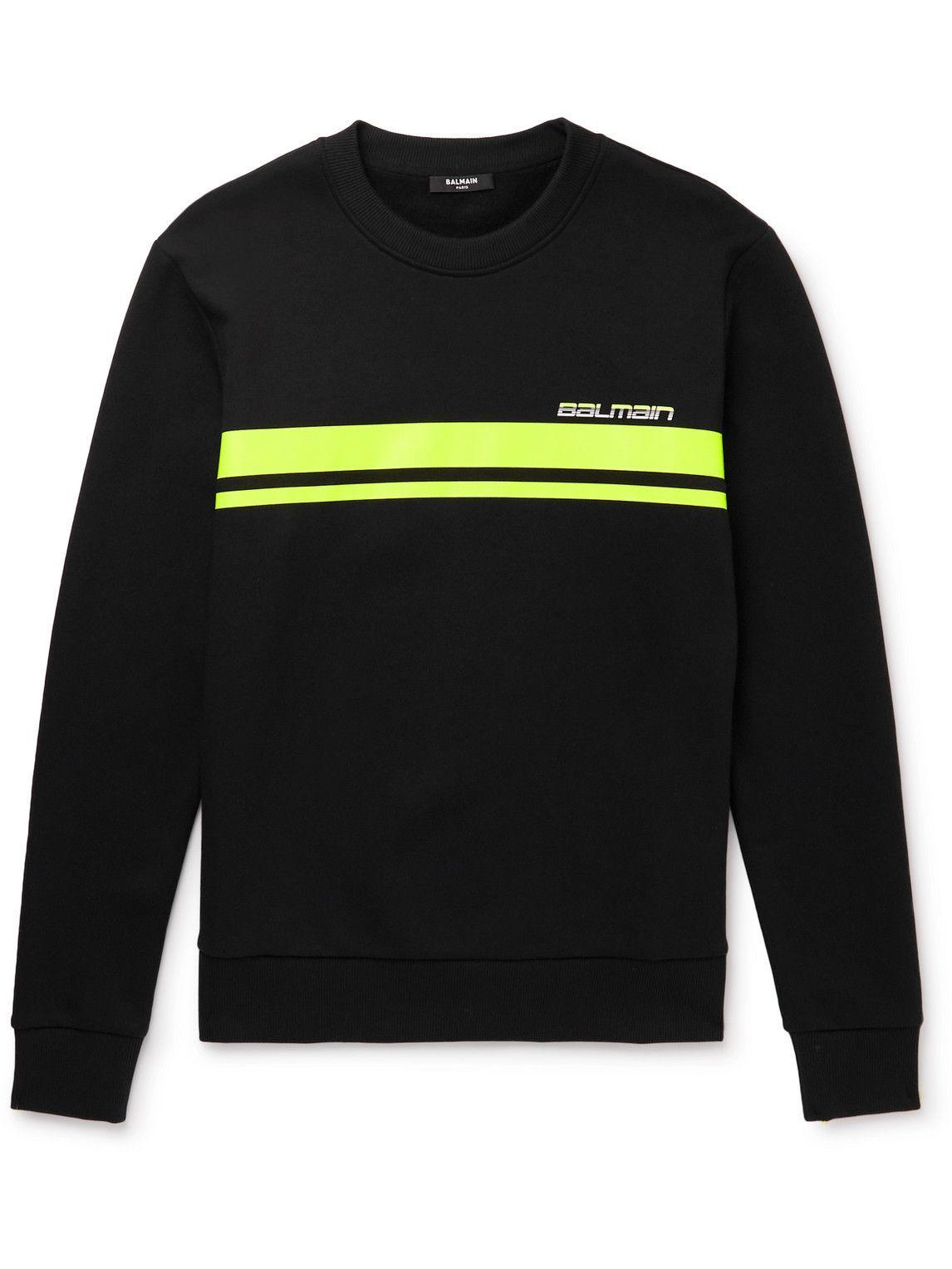 Photo: Balmain - Logo-Print Striped Cotton-Jersey Sweatshirt - Black