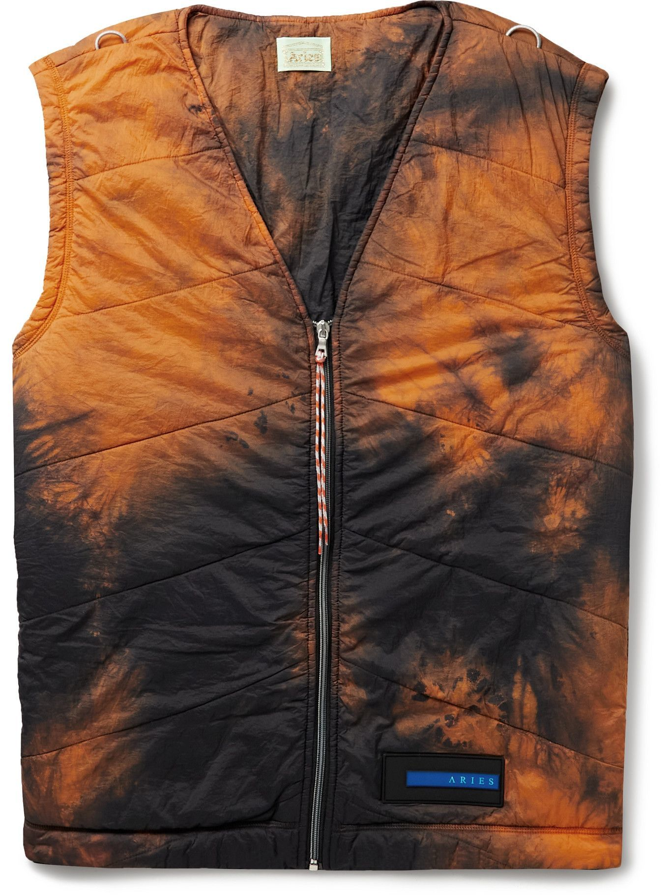 Photo: Aries - Logo-Appliquéd Quilted Padded Tie-Dyed Shell Gilet - Orange