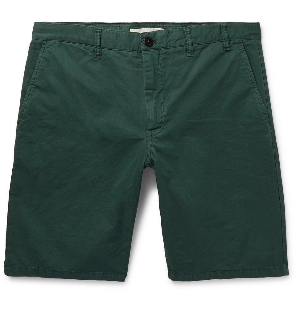 Photo: Norse Projects - Aros Slim-Fit Garment-Dyed Cotton-Twill Shorts - Forest green