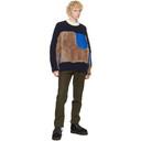 Sacai Navy and Brown Wool Sherpa Sweater