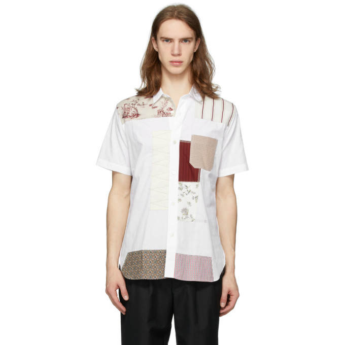 Photo: Junya Watanabe White Multi-Fabric Short Sleeve Shirt