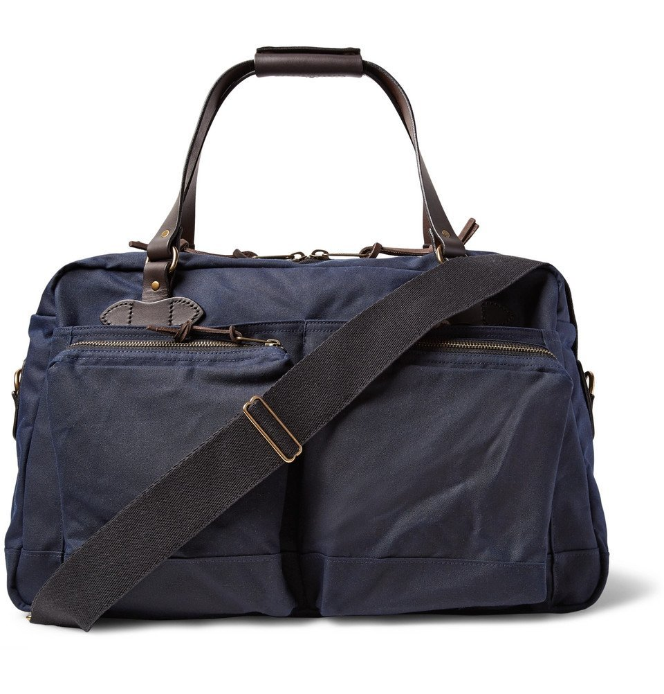 Filson - 48-Hour Leather-Trimmed Tin Cloth Duffle Bag - Men - Navy