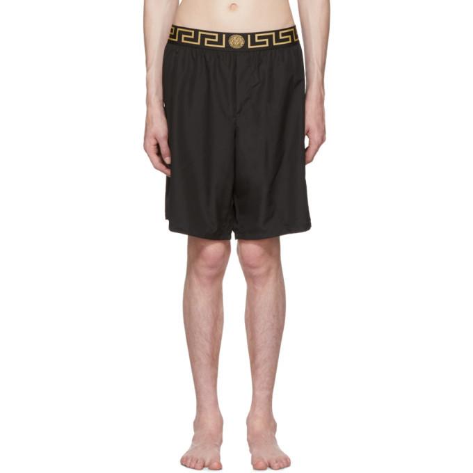 Photo: Versace Underwear Black Greek Key Medusa Swim Shorts