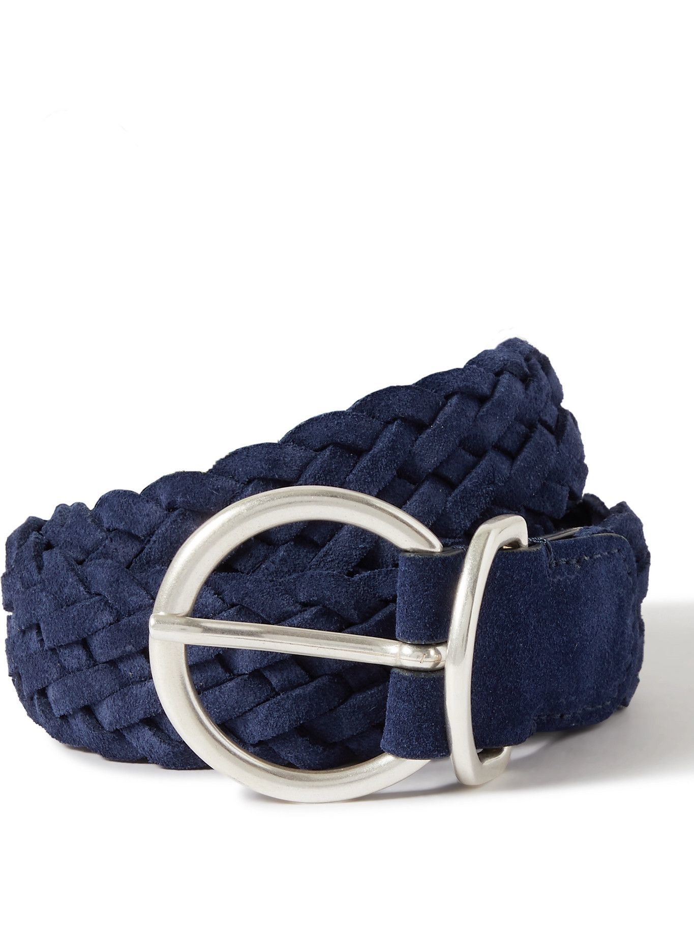 Photo: ANDERSON'S - 3.5cm Woven Suede Belt - Blue