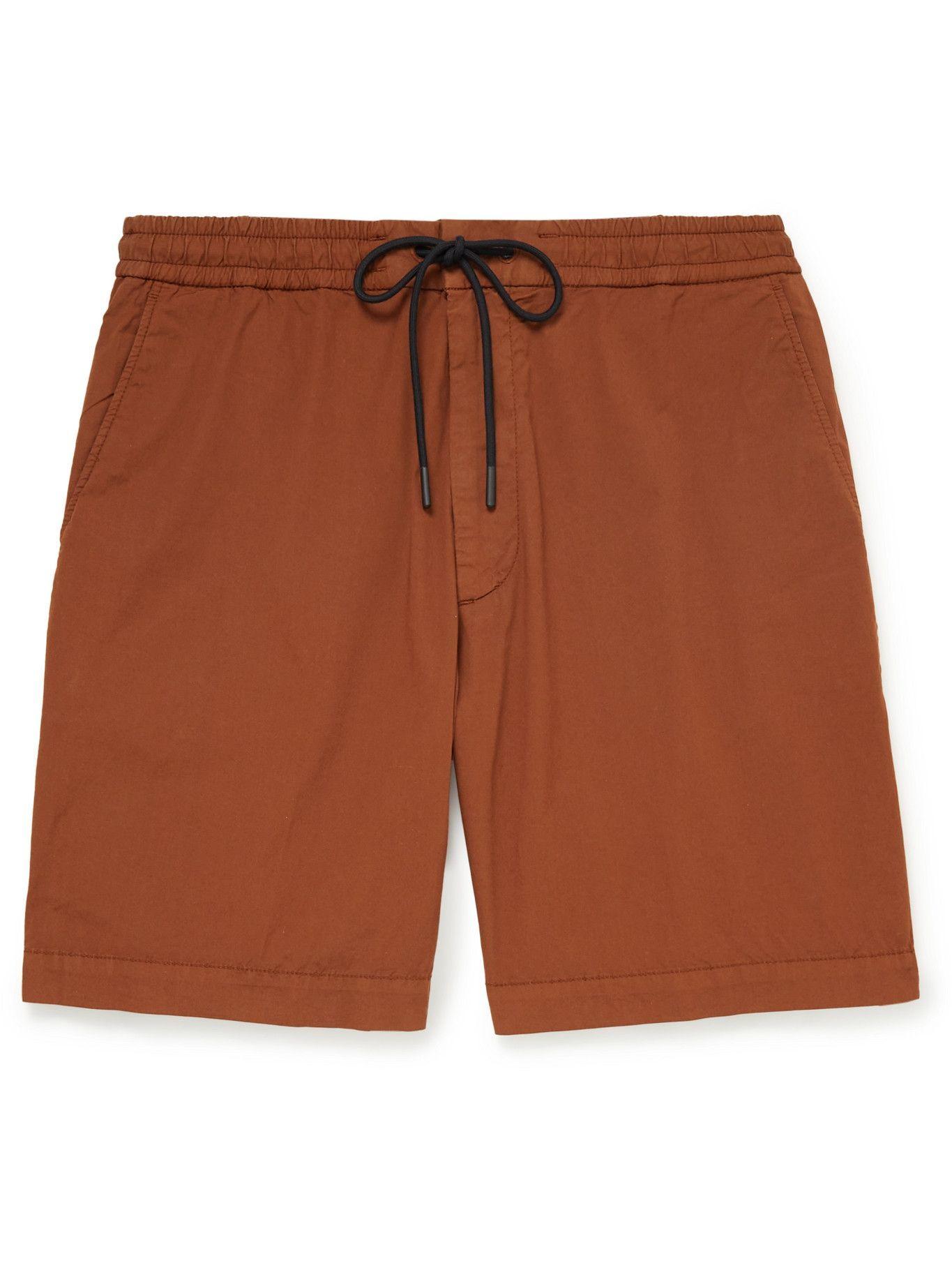 HUGO BOSS - Kenso Wide-Leg Stretch-Cotton Poplin Drawstring Shorts - Red