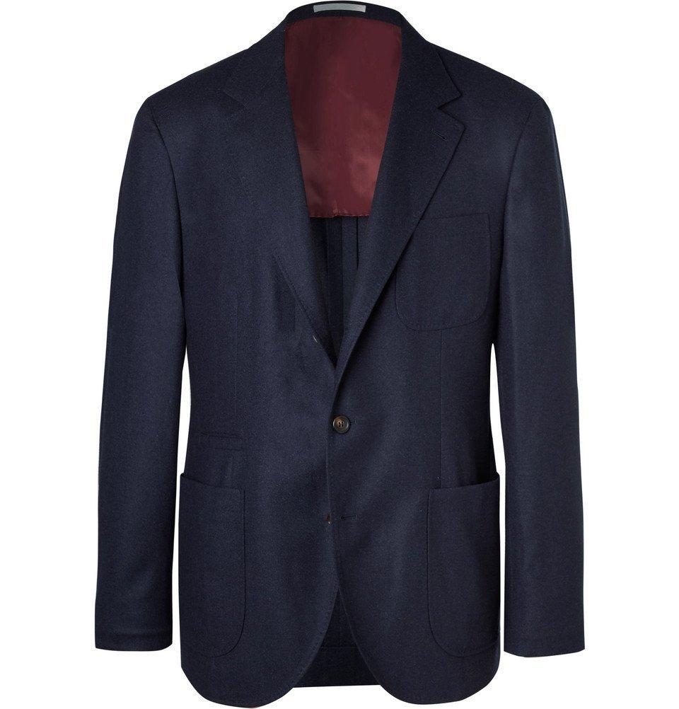 Photo: Brunello Cucinelli - Navy Unstructured Wool, Silk and Cashmere-Blend Blazer - Navy