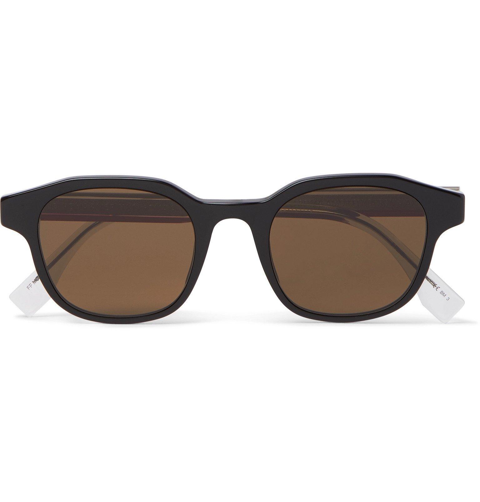 Photo: Fendi - Square-Frame Acetate and Silver-Tone Sunglasses - Black