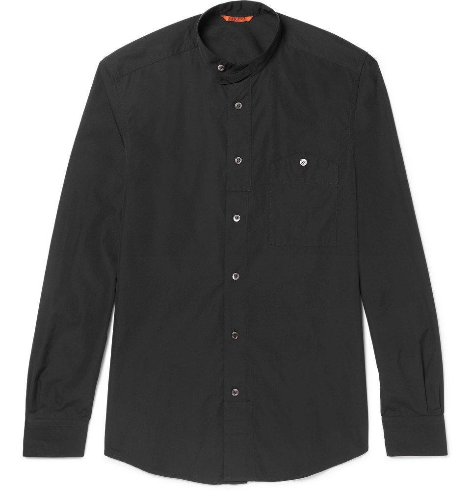 Photo: Barena - Grandad-Collar Cotton-Poplin Shirt - Men - Black