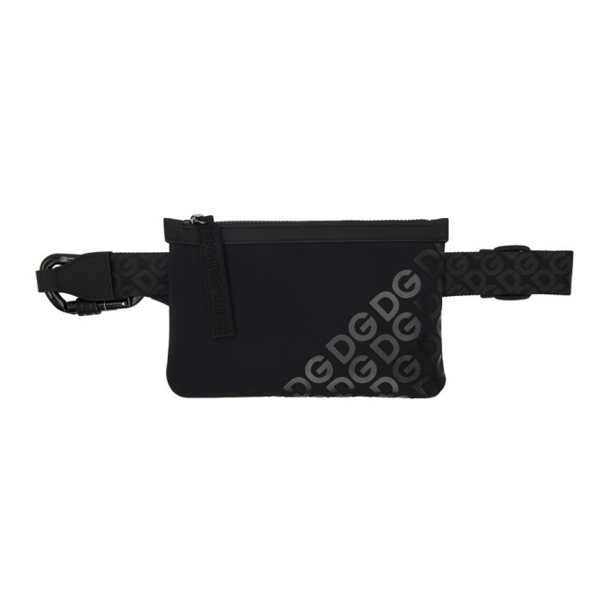 Dolce and Gabbana Black Neoprene Logomania Waist Bag