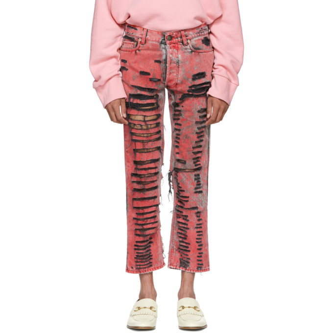 Photo: Gucci Black and Red Overdyed Ripped Jeans