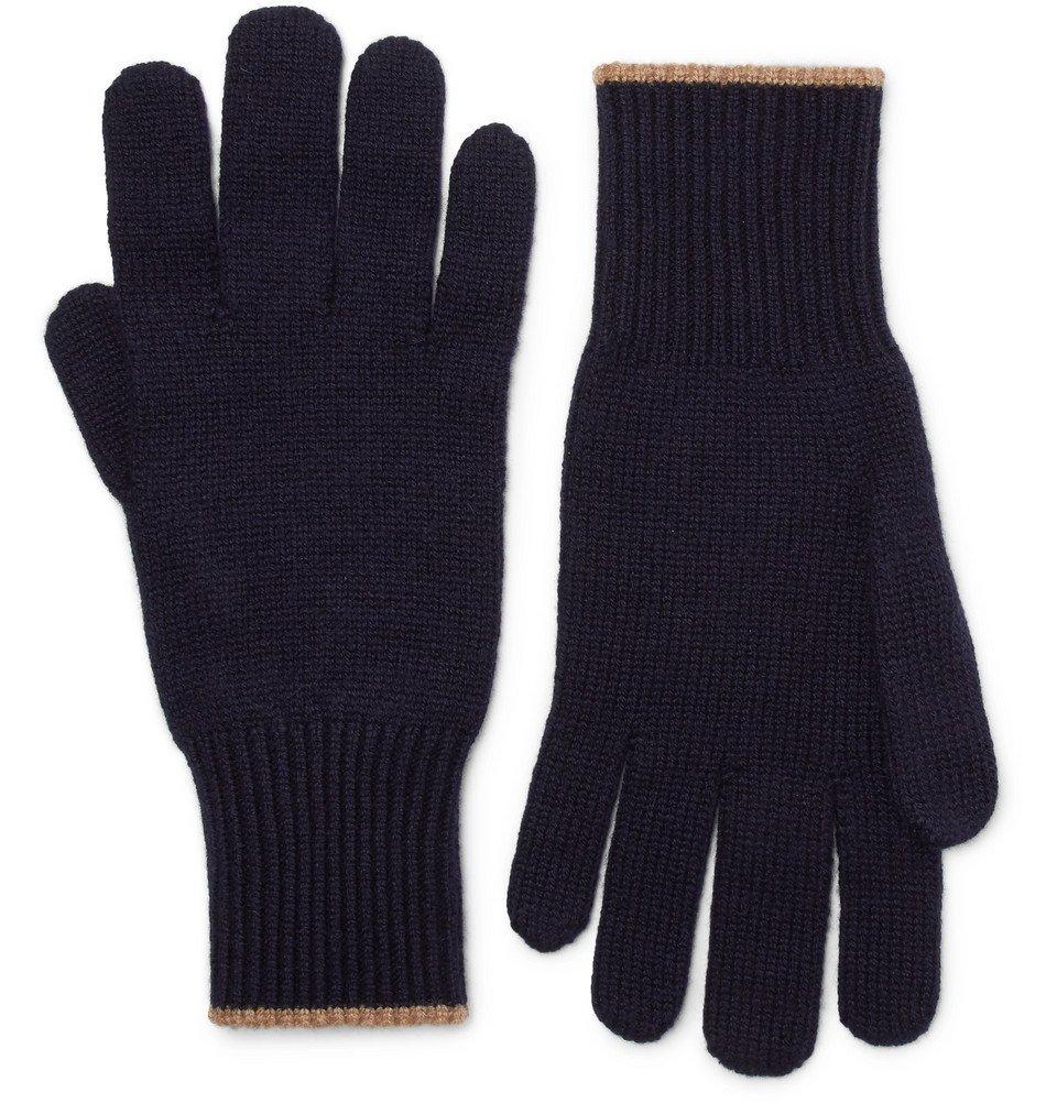 Photo: Brunello Cucinelli - Contrast-Tipped Cashmere Gloves - Men - Navy