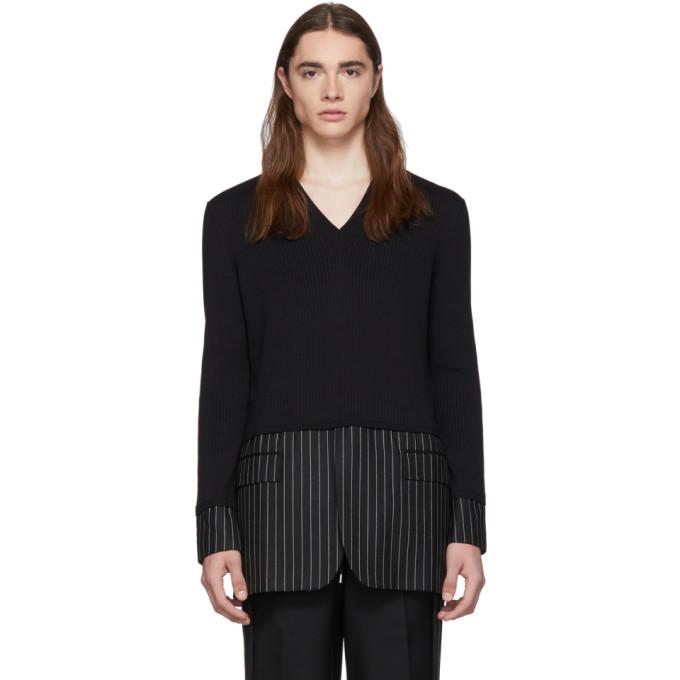 Photo: Burberry Black Silk Pinstripe Sweater