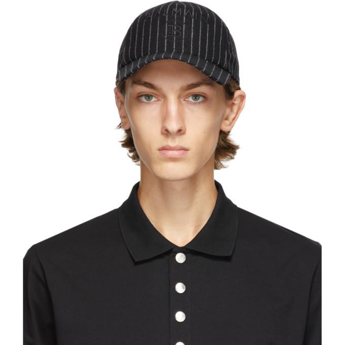 Photo: Balmain Black Wool Striped Cap