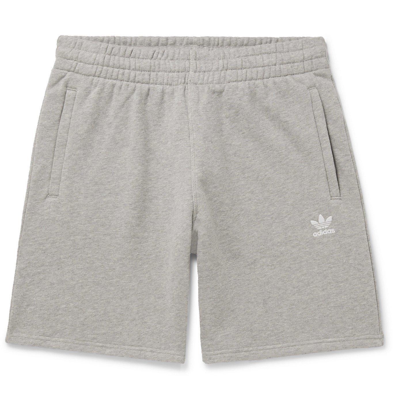 adidas Originals - Wide-Leg Logo-Embroidered Mélange Loopback ...