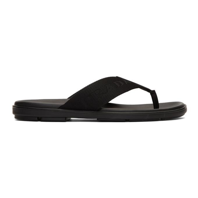 Photo: Prada Black Logo Webbing Sandals