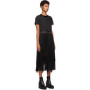 Sacai Black Tulle and Lace Pleated Short Sleeve Dress