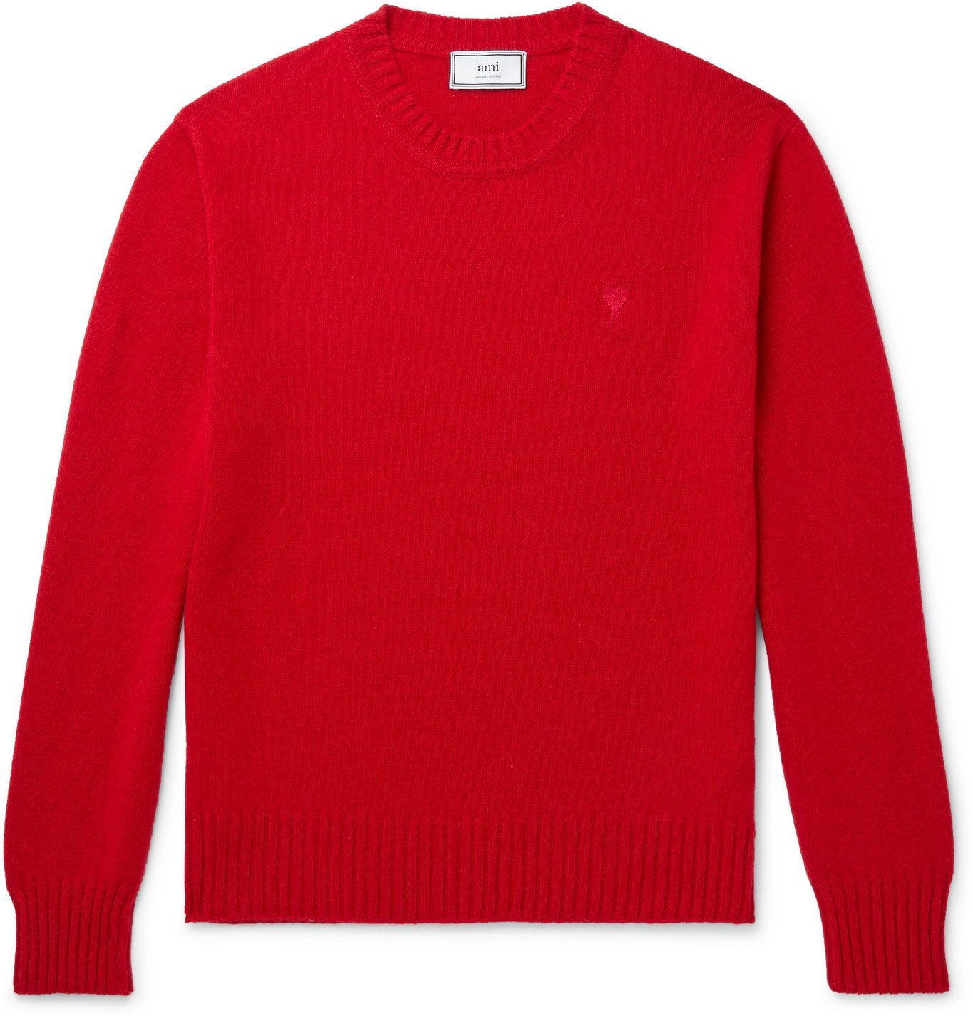 Photo: AMI PARIS - Logo-Embroidered Cashmere Sweater - Red