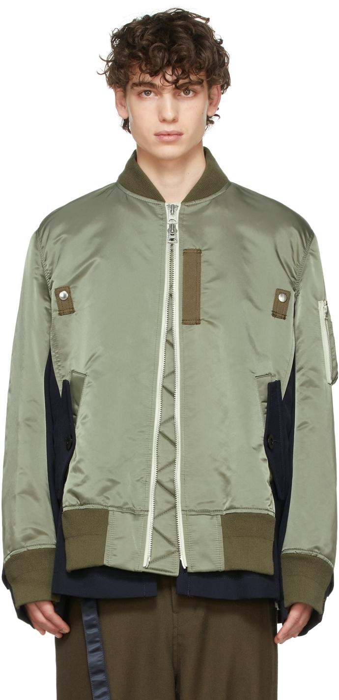 Photo: Sacai Khaki & Navy Wool & Nylon Bomber Jacket