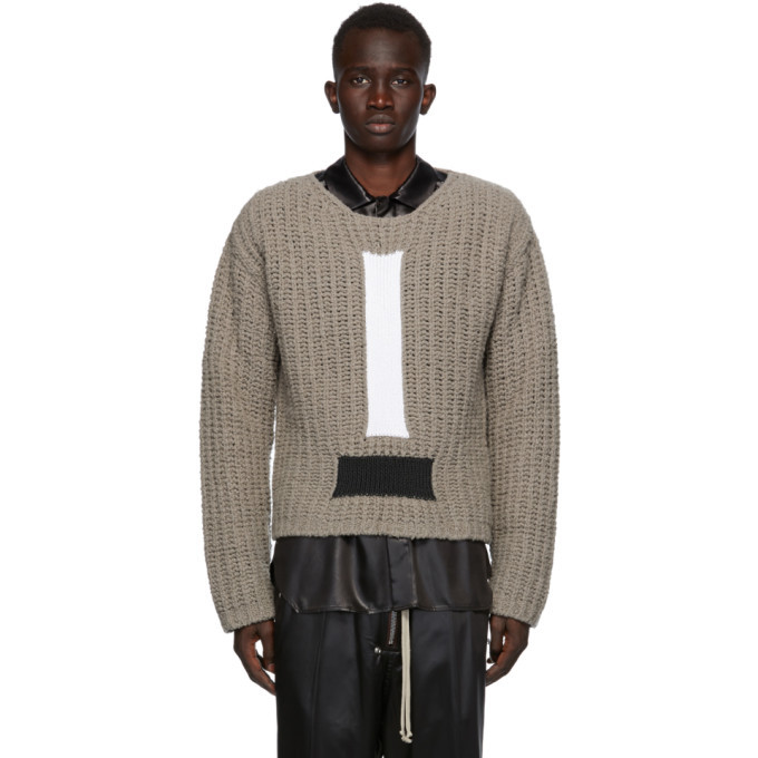 Photo: Rick Owens Grey Wool Cable Knit Sweater