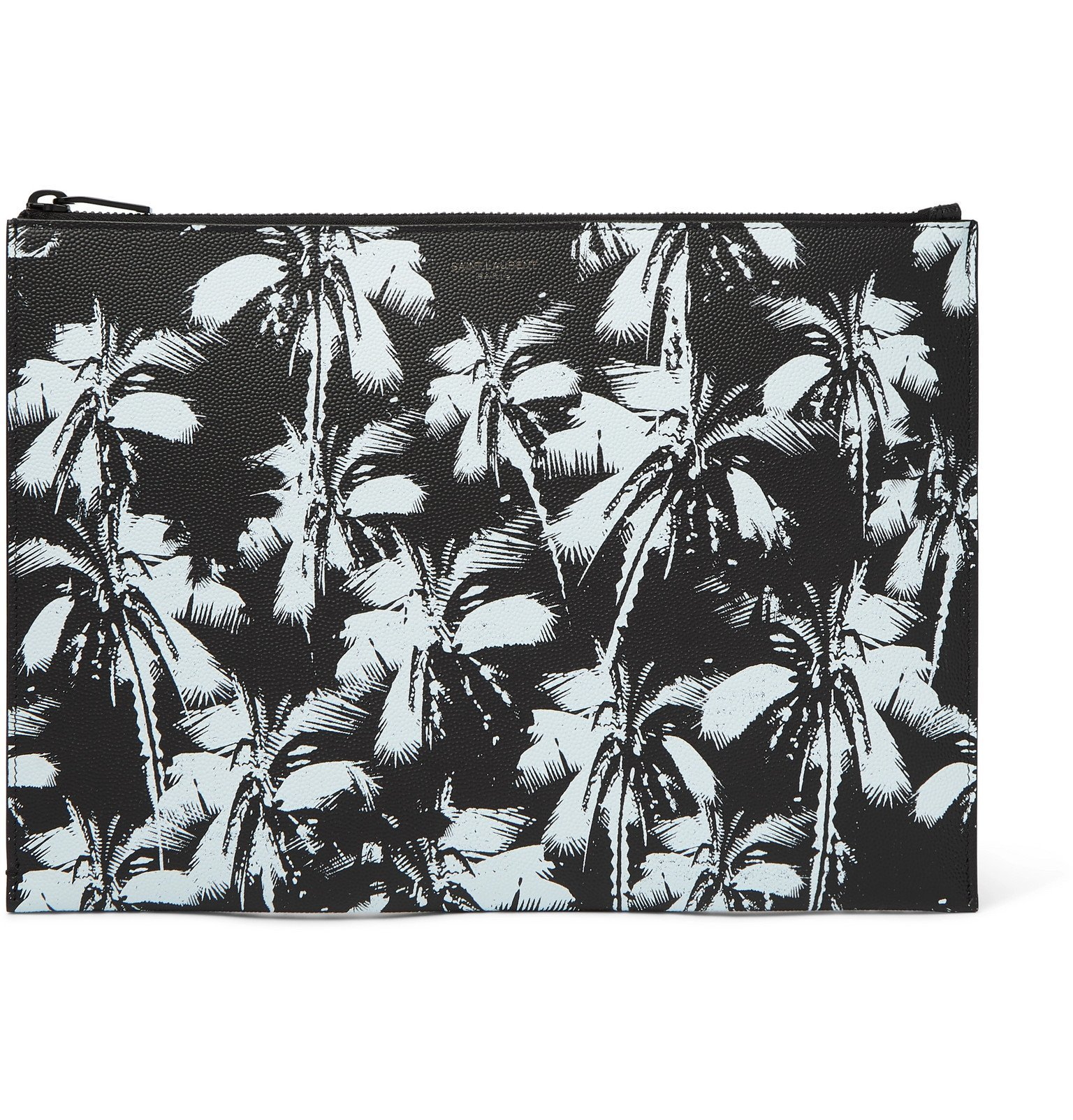 Photo: SAINT LAURENT - Printed Pebble-Grain Leather Pouch - Black