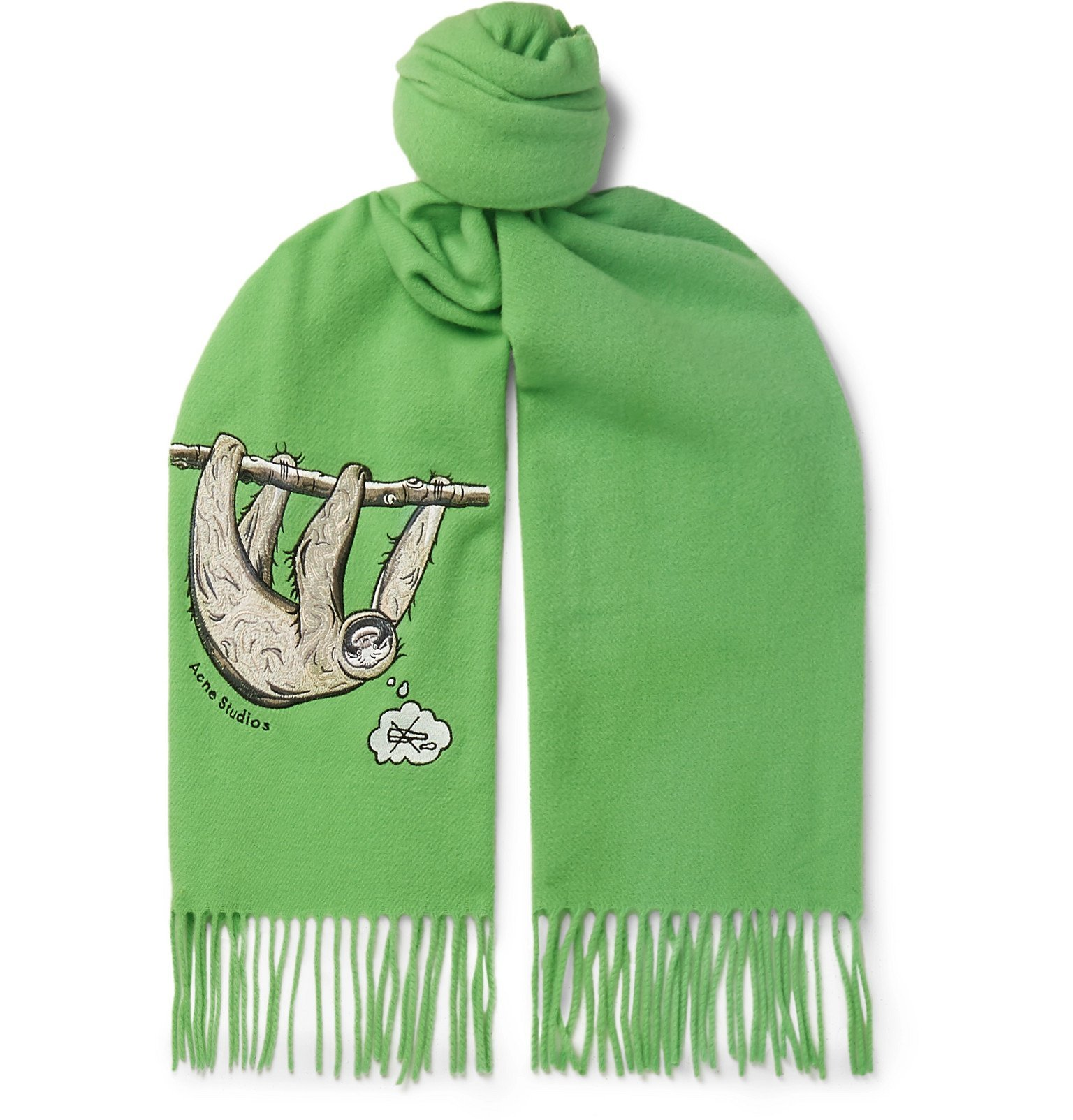 Photo: Acne Studios - Fringed Embroidered Mélange Brushed-Wool Scarf - Green