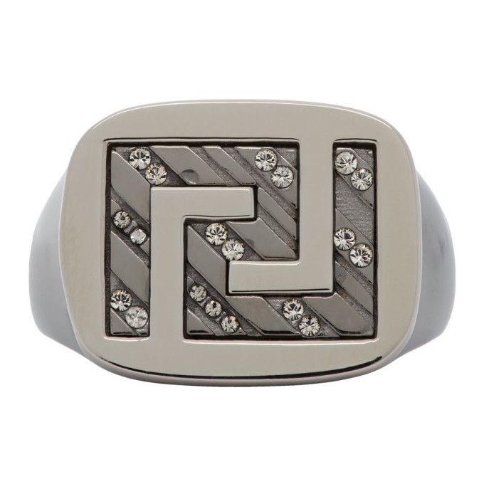 Photo: Versace Silver Greek Key Signet Ring