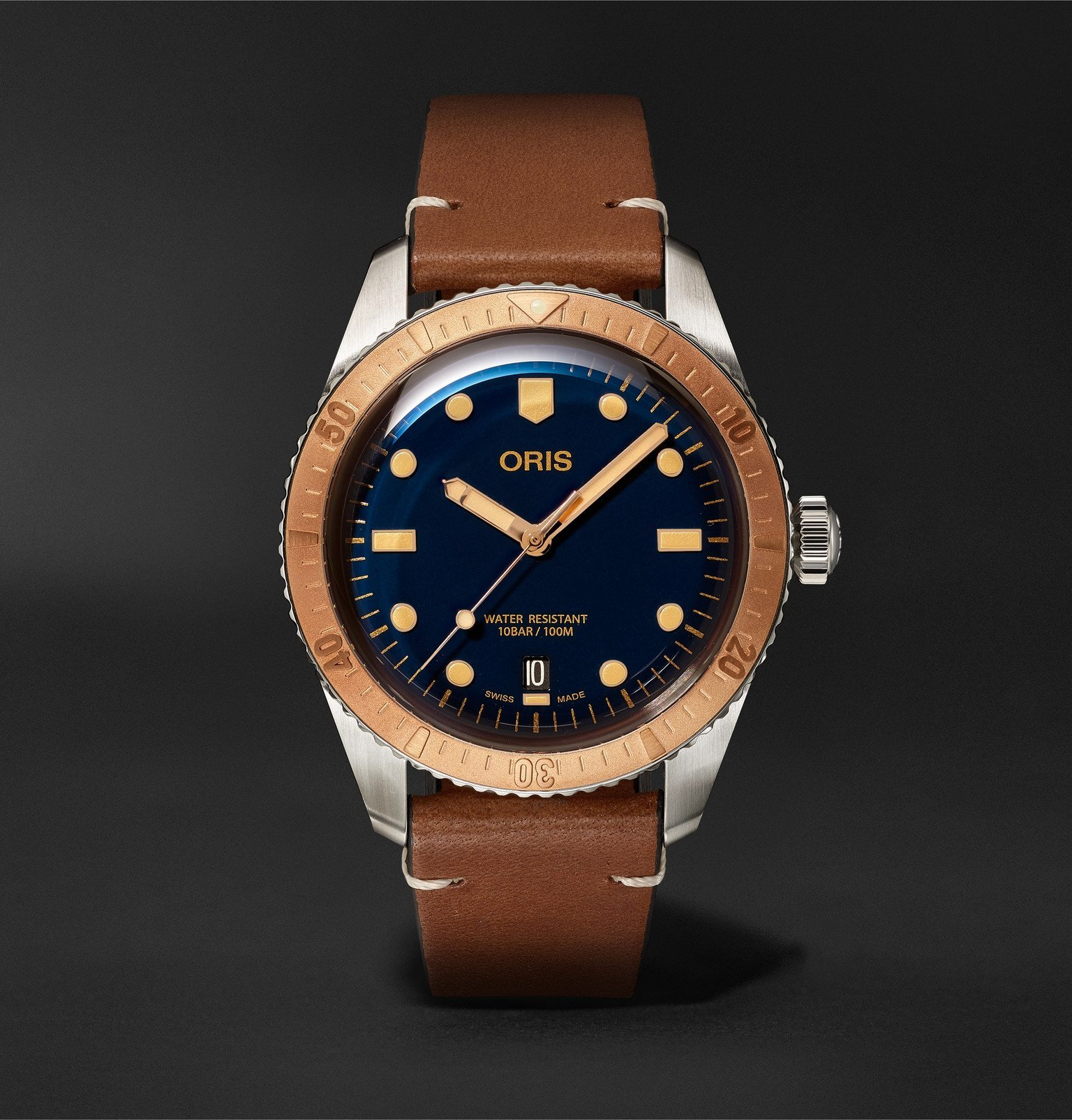 Photo: Oris - Divers 40mm Bronze, Stainless Steel and Leather Watch, Ref. No. 01 733 7707 4355-07 5 20 45 - Blue