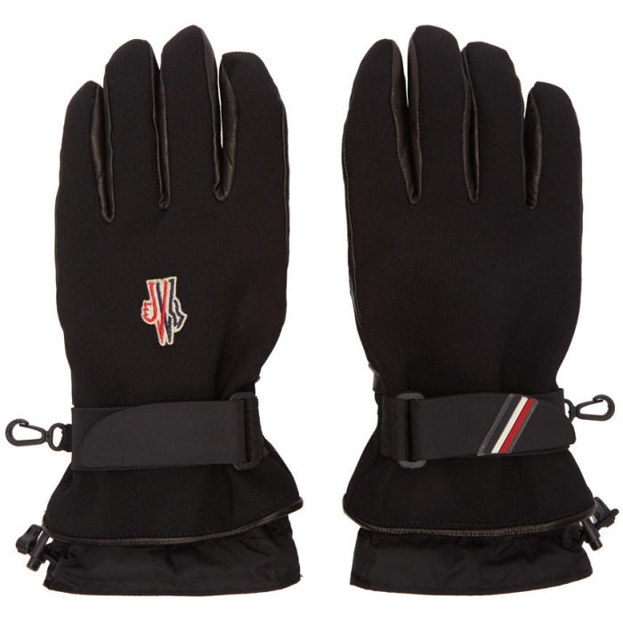 Photo: Moncler Grenoble Black Canvas and Lambskin Gloves