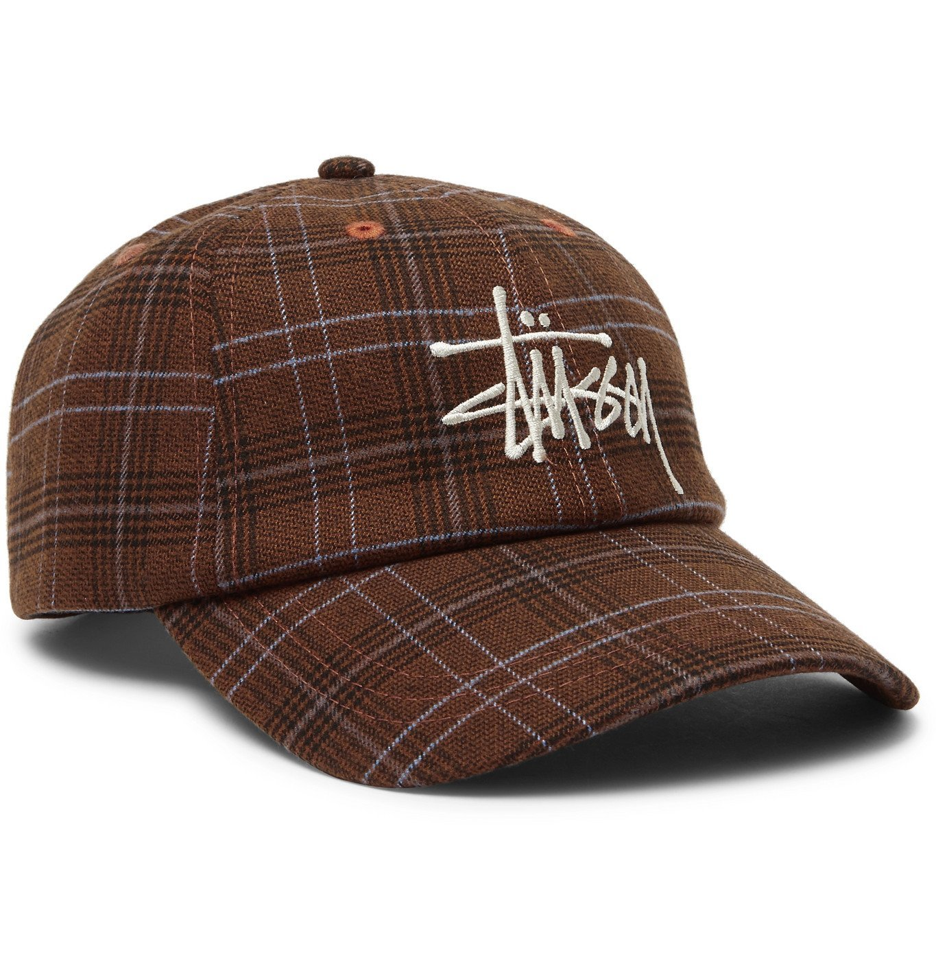 Photo: Stüssy - Logo-Embroidered Checked Flannel Baseball Cap - Brown