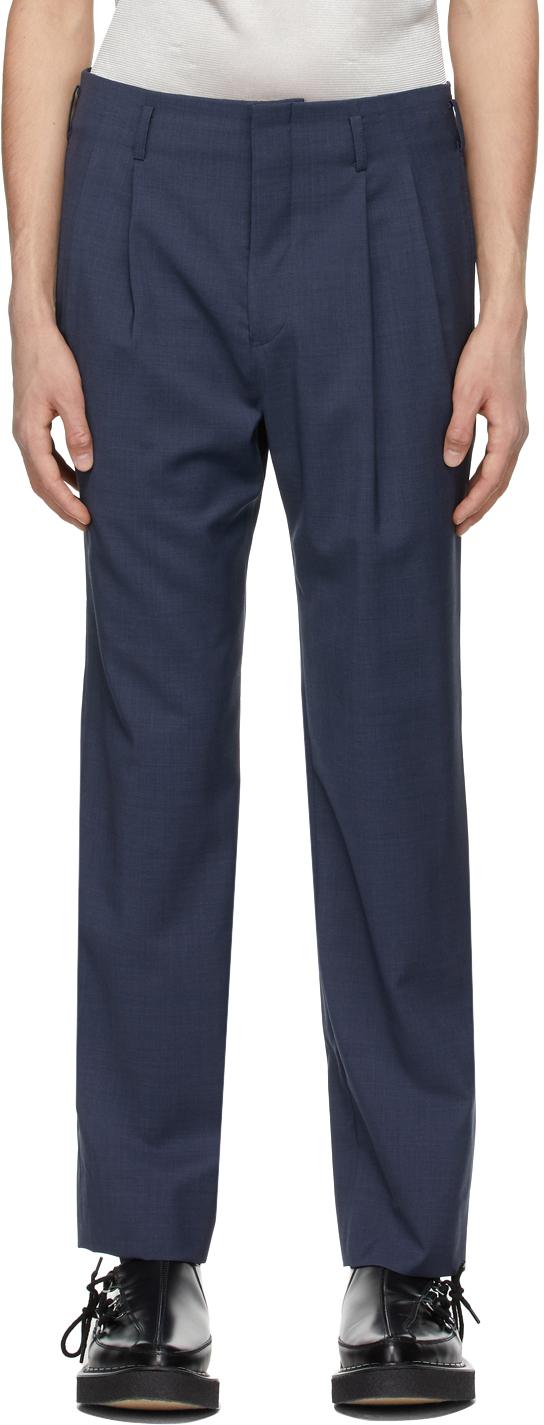 Photo: Comme des Garçons Homme Plus Blue Wool Trousers
