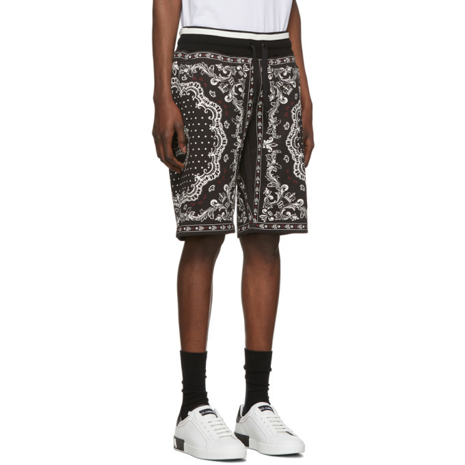 Dolce and Gabbana Black and White Bandana Bermuda Shorts