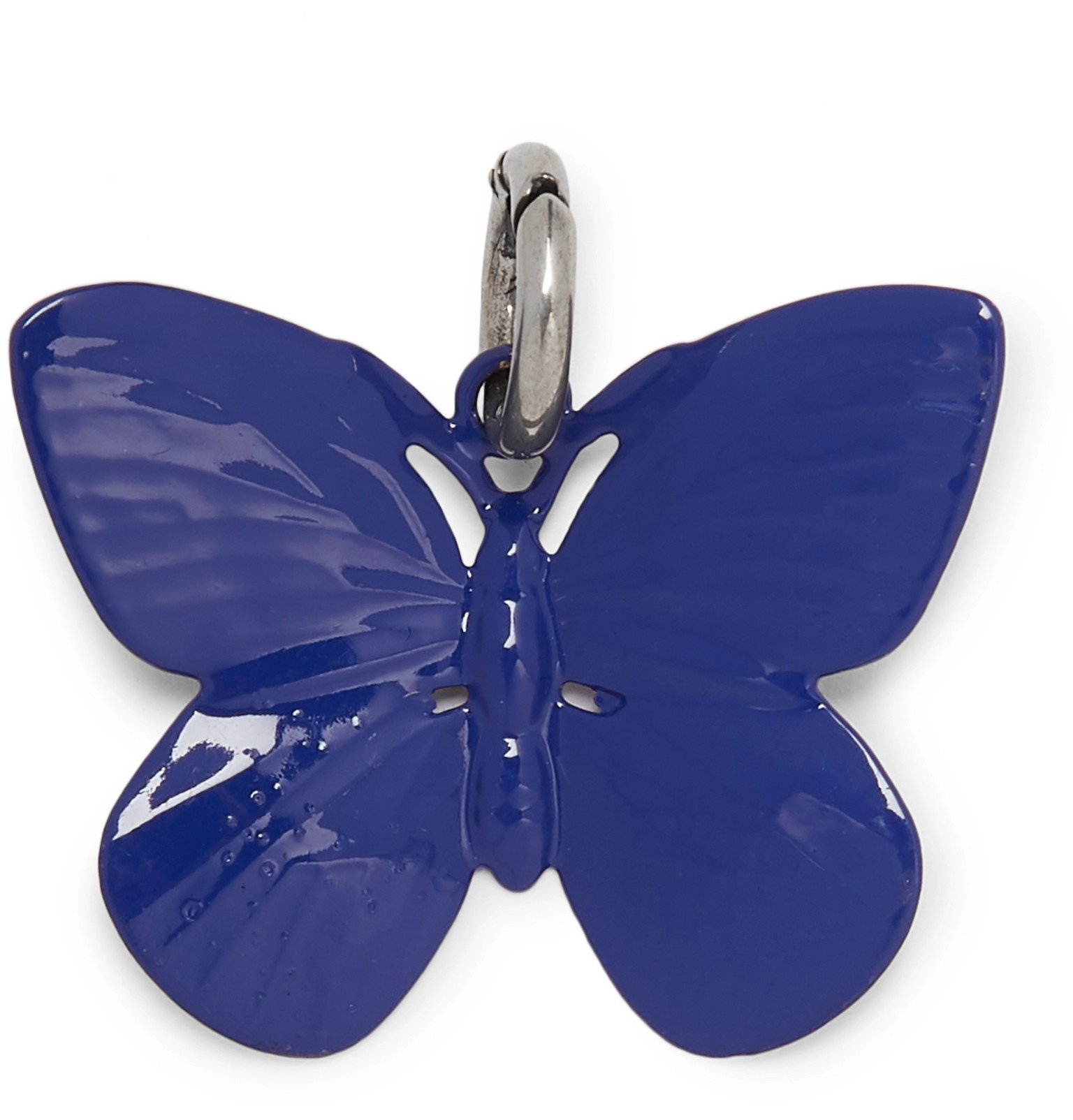 Raf Simons - Butterfly Silver-Tone and Enamel Charm - Blue