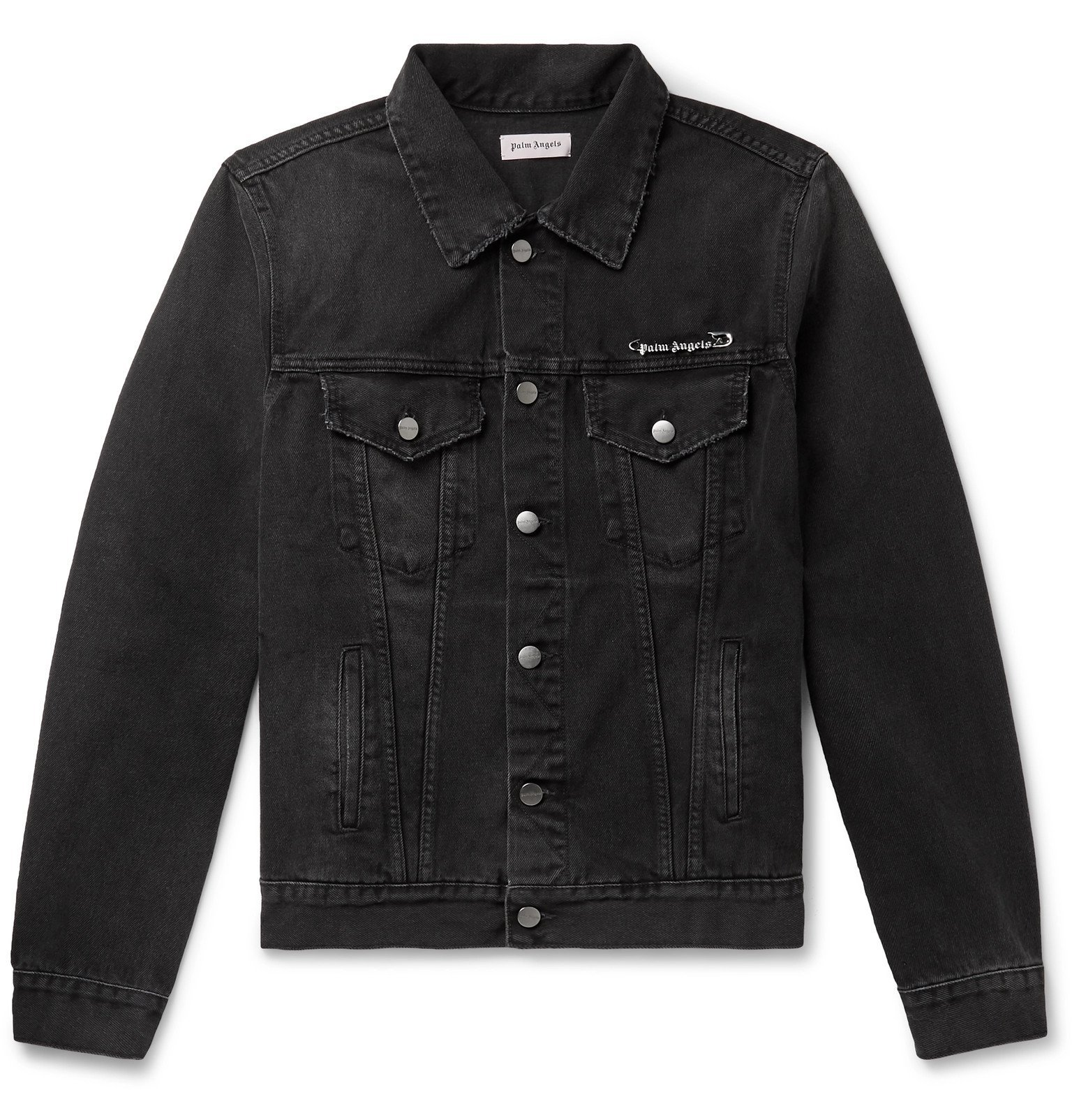 Photo: Palm Angels - Pin My Heart Embellished Denim Jacket - Black