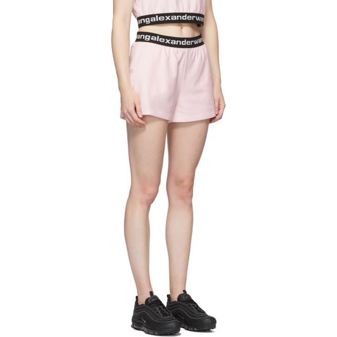alexanderwang.t Pink Stretch Logo Shorts