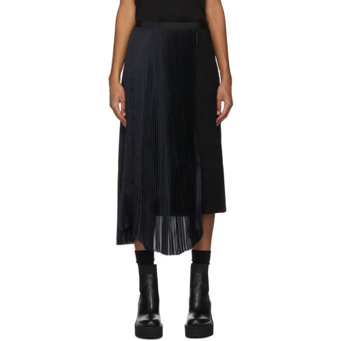 Sacai Black Pleated Wrap Skirt