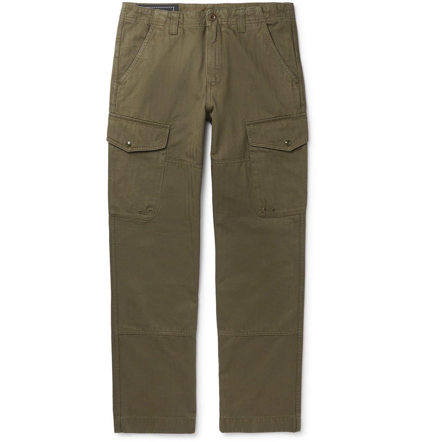 Photo: Belstaff - Herringbone Cotton-Twill Cargo Trousers - Green