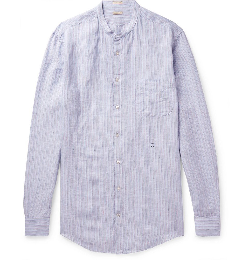 Photo: Massimo Alba - Grandad-Collar Striped Linen Shirt - Blue