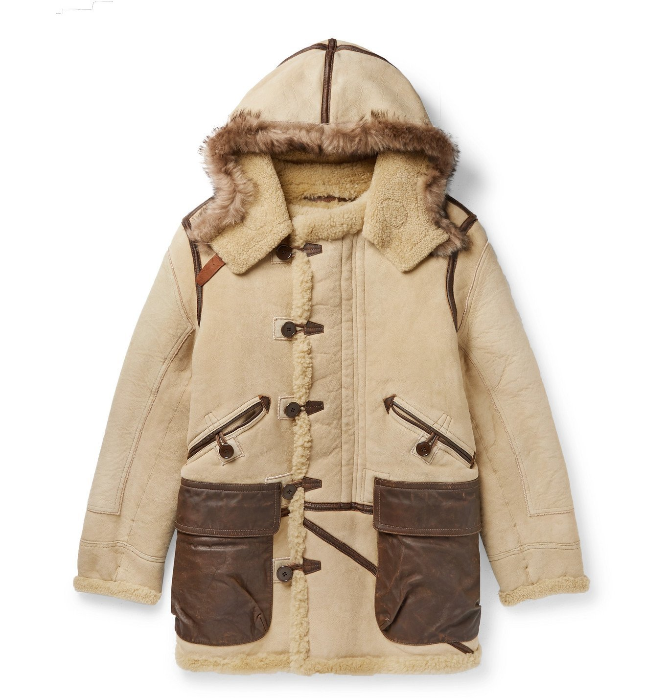 Photo: RRL - Deering Leather-Trimmed Shearling Hooded Parka - Neutrals