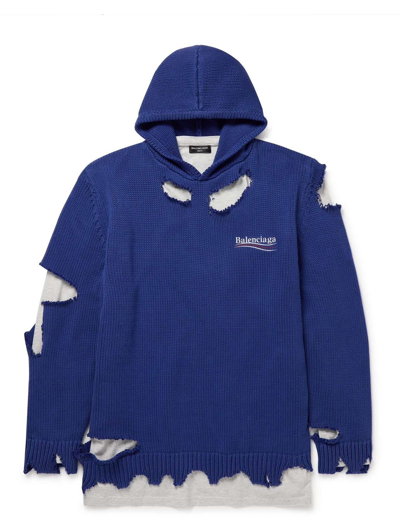 Photo: Balenciaga - Oversized Layered Distressed Logo-Embroidered Cotton Hoodie - Blue